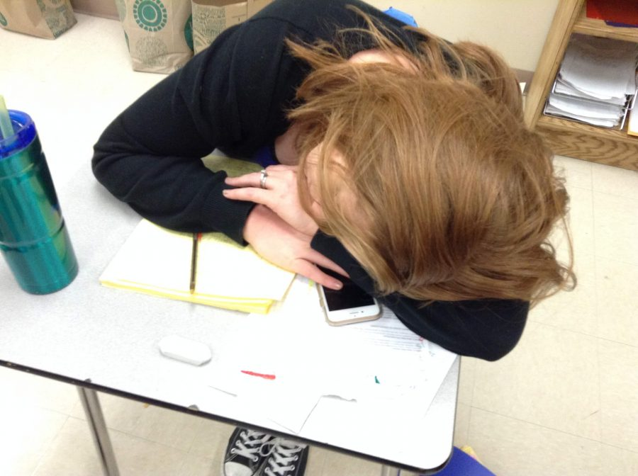 Mrs.+Gennaro+rests+her+head+after+a+long+day+teaching+Geometry