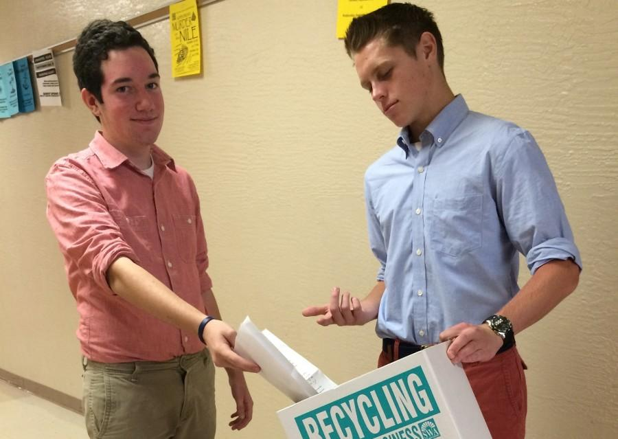 Freshman Class Officers, Steven Goodall and Evan Preusse , push for Bobcats to recycle more.