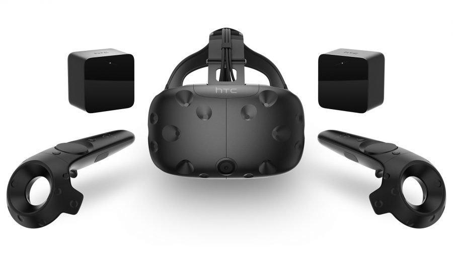 """The HTC Vive is the full VR package, containing two wireless controllers and two """"360-degree base stations"""""""