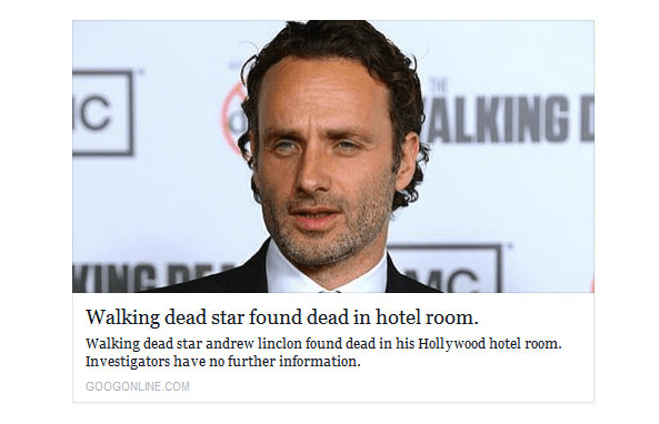 A great example of clickbait in the form of fake news.