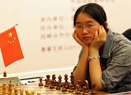 Tan Zhongyi preparing for the final round in the FIDE Women's World Chess Championship 2017