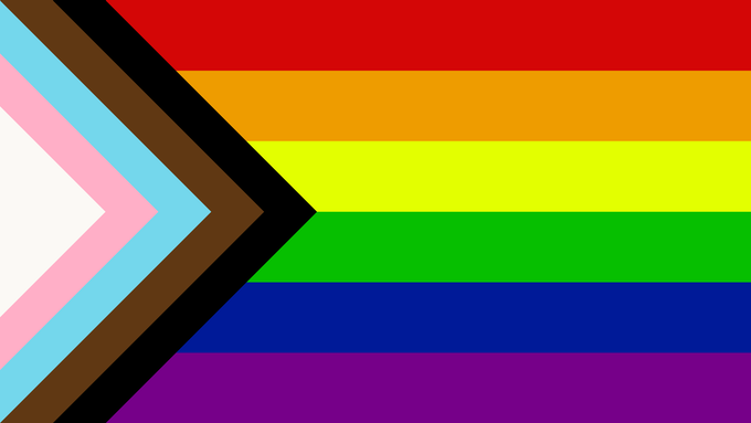 "The progress pride flag. Designed by Daniel Quasar in 2018. Quasar added the five-colored chevron to the classic rainbow pride flag to further emphasize ""inclusion"" and ""progression."""