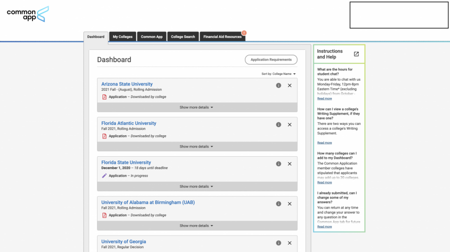The dashboard section of common app is where you will be able to apply to colleges you have selected.