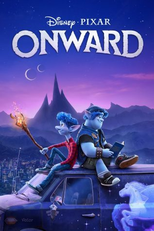 The main logo for Pixar's Onward. Containing the two main characters: Ian Lightfoot (left) and Barley Lightfoot (right).