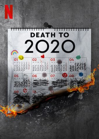 The Death to 2020 movie poster that illustrates the calendar of 2020 being burned with symbols that represent an event or feeling that occurred in certain months of the year.